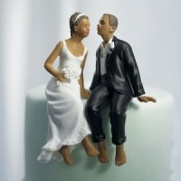 Whimsical Barefoot Sitting Bride and Groom Couple Cake Top
