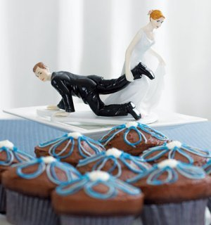 Funny Wedding Cake Topper - Bride Dragging Groom image