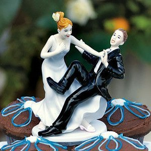 Funny Wedding Cake Topper - Groom 'Taking The Plunge' image