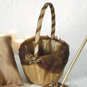 Elegant Bronze Gold Flower Girl Basket image