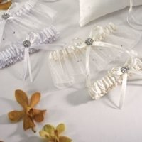 Crystal and Pearl Two Piece Garter Set - Ivory