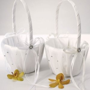 Crystal and Pearl Wedding Flower Girl Baskets image
