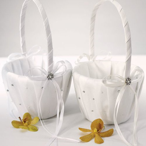 Flower Girl Basket Montreal : Crystal and pearl wedding flower girl baskets