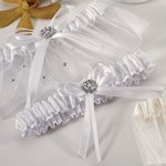 Crystal and Pearl Two Piece Garter Set - White