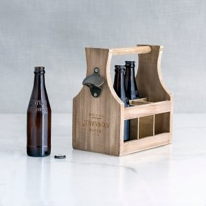 Personalized Brewery Co. Wood Bottle Caddy with Opener image