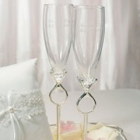 'Diamond' Ring Unique Toasting Flutes