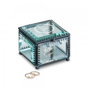 Vintage Inspired Modern Monogram Glass Jewelry Box image