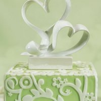 Contemporary Stylized Double Heart Wedding Cake Topper