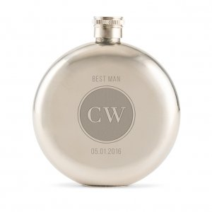 Circle Monogram Polished Round Hip Flask image