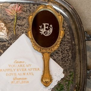 Personalized Gold Looking Glass Trinket Holder image