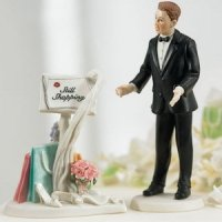 Still Shopping' Sign & Surprised Groom Comical Cake Topper
