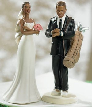 Exasperated Bride & Golfer Groom Wedding Cake Topper image