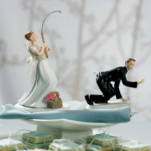 Fishing Bride & Caught Groom Mix and Match Cake Topper image