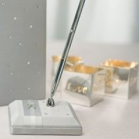 Platinum and Pearls Satin Wrapped Pen Set