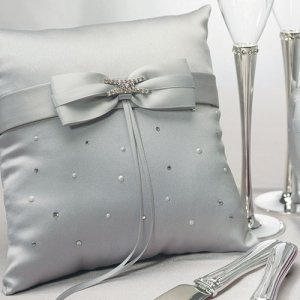 Platinum and Crystals Silver Ring Bearer Pillow image