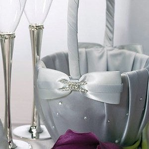 Platinum and Pearls Silver Flower Girl Basket image