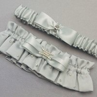 Platinum and Crystals Two Piece Garter Set