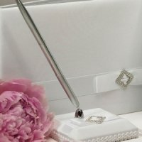 White Simple Elegance Satin Wrapped Pen Set