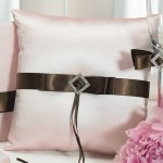 Strawberry Pink & Chocolate Ring Bearer Pillow
