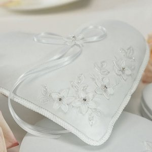 Floral Fantasy Heart Shaped Ring Bearer Pillow image