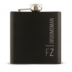 Vertical Etching Black Coated Hip Flask image