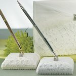 Embroidered Bridal Tapestry Wrapped Pen Set