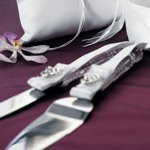 Jeweled Double Heart Cake Serving Set