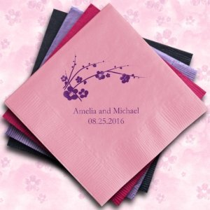 Cherry Blossom Personalized Napkins (25 Colors) image