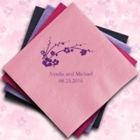 Cherry Blossom Personalized Napkins (25 Colors)