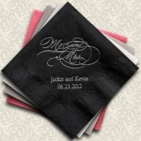 Script Mr. and Mrs. Personalized Napkins (25 Colors)