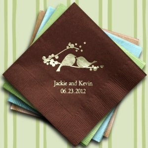 Love Birds Printed Wedding Napkins (25 Colors) image