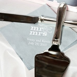 Personalized Mr and Mrs Wedding Napkins (25 Colors) image