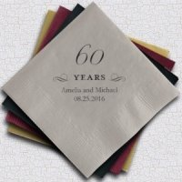 Personalized 60th Anniversary Napkins (25 Colors)