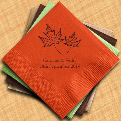 Fall leaf personalized wedding napkins 25 colors for Printed wedding napkins