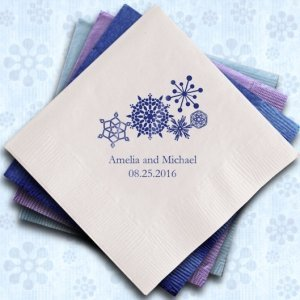 Winter Snowflake Personalized Napkins (25 Colors) image
