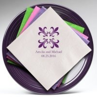 Fleur De Lis Personalized Napkins (25 Colors)