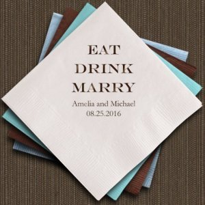 Eat Drink Marry Personalized Napkins (25 Colors) image