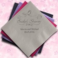 Bridal Shower Personalized Napkins (25 Colors)