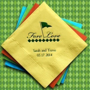Fore Love Golf Design Personalized Napkins (25 Colors) image