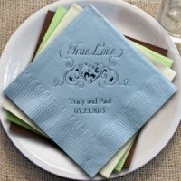 True Love Heart Filigree Personalized Napkins (25 Colors)