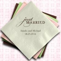 Just Married Custom Wedding Napkins (25 Colors)