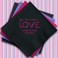 All You Need is Love Personalized Napkins (25 Colors)