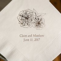 Shabby Chic Floral Design Personalized Napkins (25 Colors)