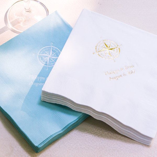 Vintage Travel Compass Personalized Wedding Napkins