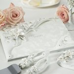 White Lilies Traditional Guest Book