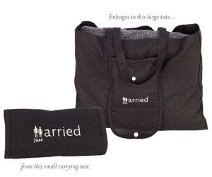 'Just Married' Collapsible Tote Bag image