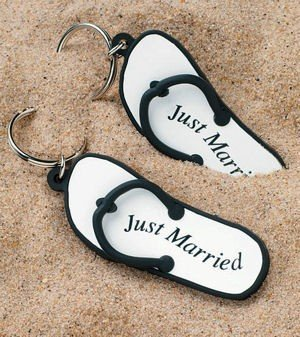 Just Married Flip Flop Key Rings (6 Pack) image