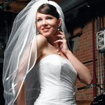 Wide Satin Edged Veil with Embedded Pearls