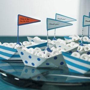 White & Blue Wedding Favor Metal Boats (Set of 6) image