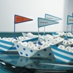 White & Blue Wedding Favor Metal Boats (Set of 6)